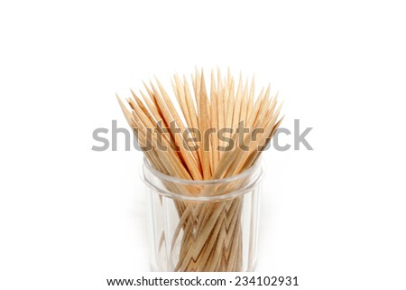 small pile of wooden toothpick for hygiene #234102931