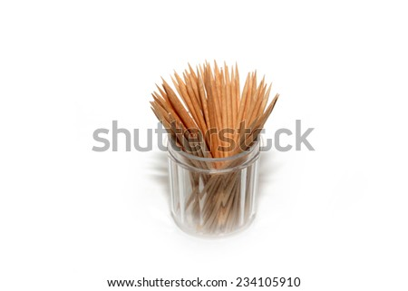 small pile of wooden toothpick for hygiene #234105910