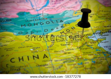 Small pin pointing on Beijing (China) in a map Asia.
