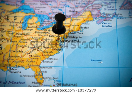 Small pin pointing on Washington (USA) in map of North America