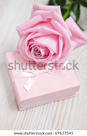 Small pink Valentine's day gift with tie.