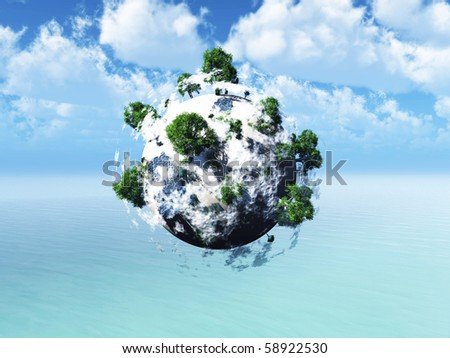 small planet with huge tree with clouds float over sea in sunny day