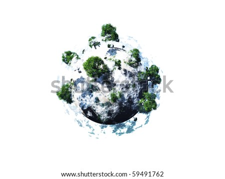small planet with huge tree with clouds float over sea in sunny day, isolated on white