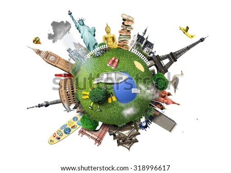 Small planet with landmarks around the world - Shutterstock ID 318996617