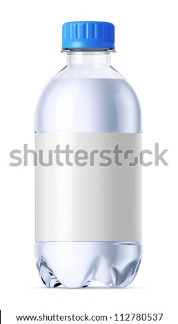 Small plastic bottle 0.33l full of water with clean white label for design presentation. Isolated on white.