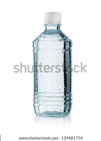 Small plastic water bottle with drops
