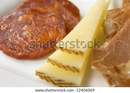 Small plate dining (tapas) with sausages, cheese and Italian ham.