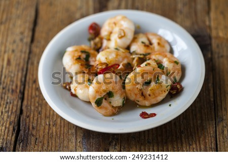 Small plate of prawns with garlic
