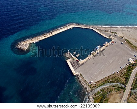 Small port in aegean island, aerial.