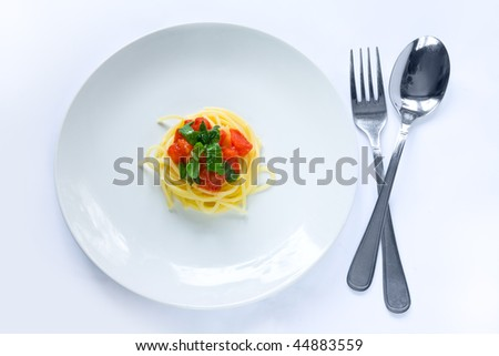 Small portion of pasta