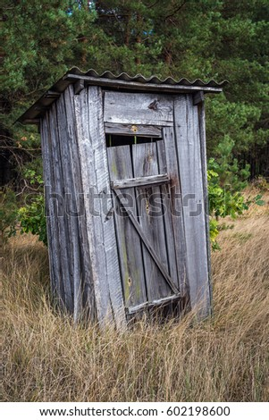 Small privy in abandoned Masheve settlement, Chernobyl Exclusion Zone, Ukraine