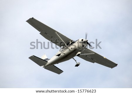 Small propeller airplane for recreational use - stock photo