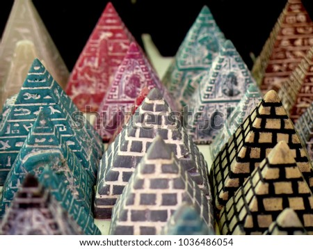 Small pyramids souvenirs in an street market in Hurghada, Egypt. #1036486054
