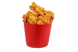 Small Red Bucket Chicken Fried White Background