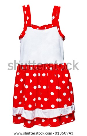 Small red polka dot dress for girls isolated on white background