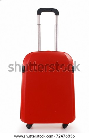 Small red suitcase isolated on white