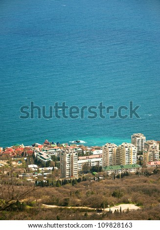 Small resort town named Foros in the Crimea, Ukraine, during a spring time, view from the Resurrection Church - stock photo