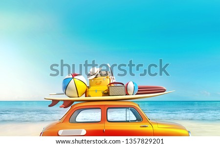 Small retro car with baggage and luggage on the roof, fully packed, ready for summer vacation, concept of a road trip with family and friends, dream destination, vivid colors, 3d rendering