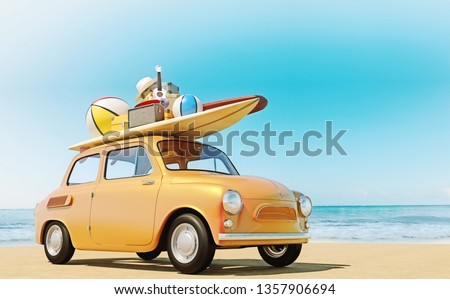 Small retro car with baggage, luggage and beach equipment on the roof, fully packed, ready for summer vacation, concept of a road trip with family and friends, vivid colors, 3d rendering