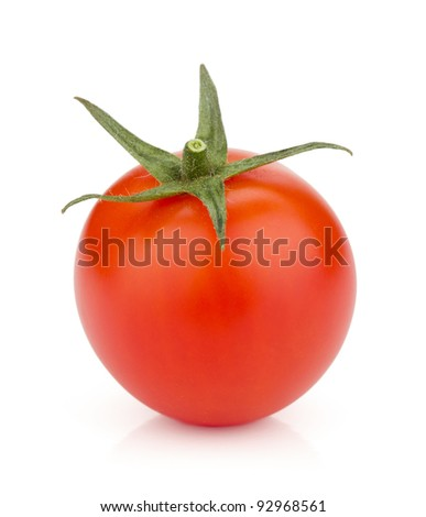 Small ripe tomato. Isolated on white background