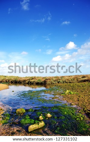 Small river and cloudy sky