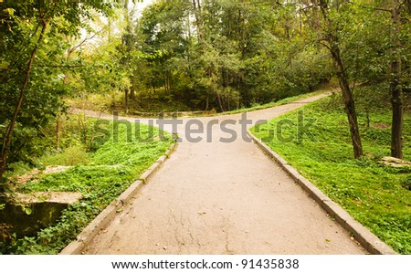 Small road to the park, forking divergently. The photo is made in the autumn - October #91435838