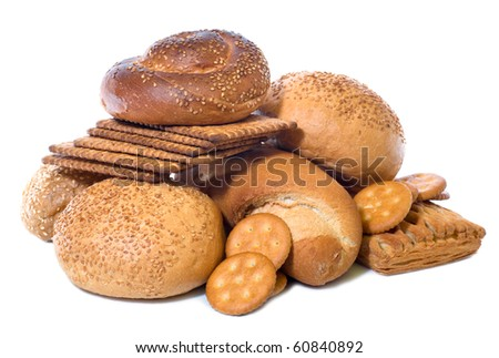 small roll pikelets and biscuits isolated on white background