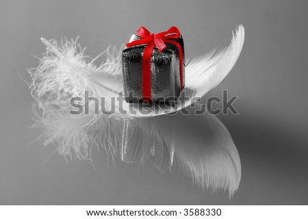 Small romantic  present on white feathers