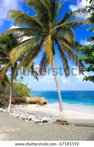Small romantic tropical sand beach in the Guantanamo province, Cuba