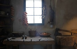 Small room in a medieval house, used as a butchery, cramped