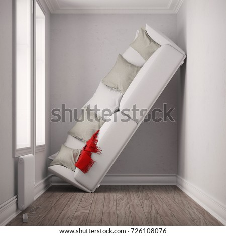 Small room place with big sofa as narrowness concept (3D Rendering) Photo stock ©