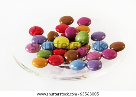small round color candies on a plate