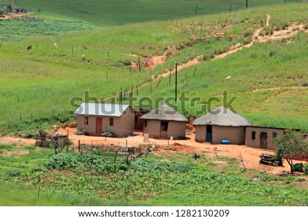 Small rural settlement in mountainous grassland, KwaZulu-Natal, South Africa
