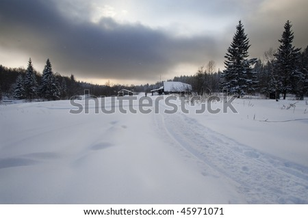 Small russian village in winter at Urals, Russia