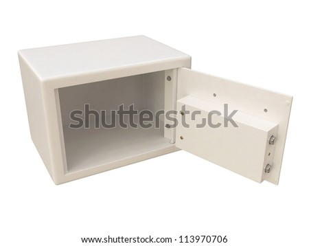 Small safe with digital lock, open door. 3D isolated