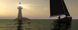 Small sail boat in the sea with a large lighthouse in the back ground 3d render