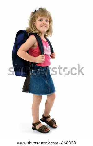 Small school girl with backpack. Summer casual clothes. Shot in studio