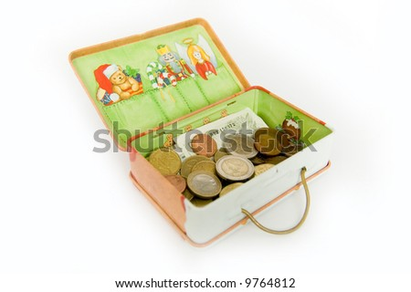 Small sheet steel case with the ldrawings of teddy bear, angel, ... filled with coins and paper currency.