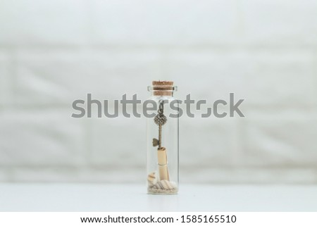 Small shells and small keys in small glass bottles