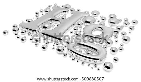 Small shiny mercury (Hg) metal chemical element sign of toxic mercury metal with drops and droplets of toxic mercury liquid isolated on white background close-up, 3d illustration