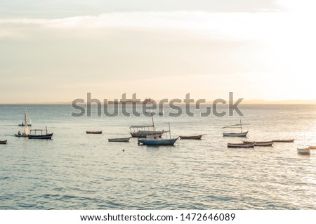 Small Ships / boats with vessels / cargo ships / container ships in the back in a calm sea at evening in Salvador de  Bahia, Brazil #1472646089