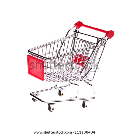 Small shopping cart isolated on white