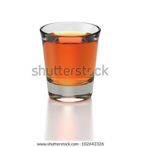Small shot glass with whiskey colored drink on white background Foto stock ©