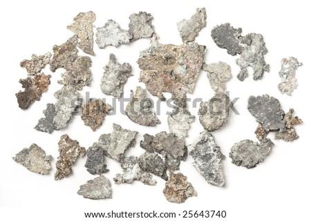 stock photo Small silver nuggets closeup