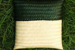 Small size of bamboo basketwork represent traditional thai style containing equipment.
