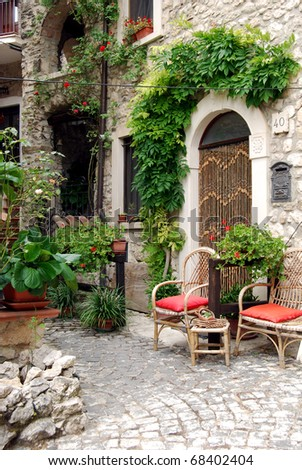 Small square between the houses of Assergi - Abruzzo - Italy - stock photo
