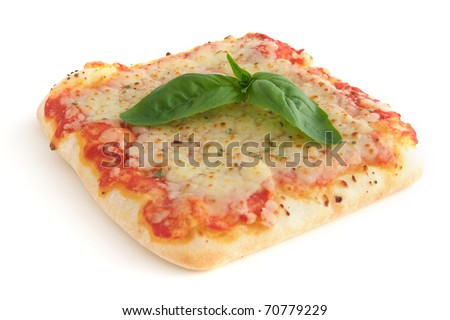 Small square piece of pizza - isolated on white background - stock photo