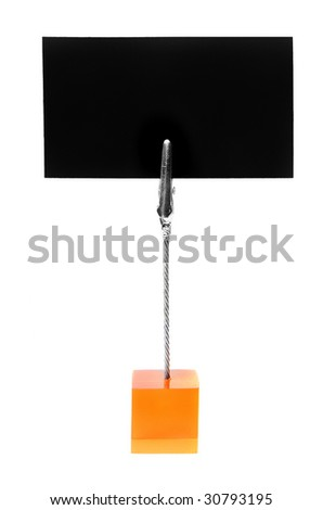 Small stand with blank business card isolated over white