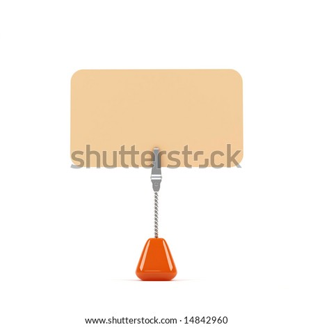 Small stand with orange card on a white background
