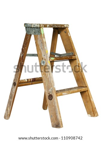 small stepladder isolated with clipping path at original size - stock photo